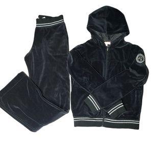 ESCADA Y2K girls black velour track suit size 16